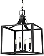 Seagull Sea Gull 5340604-12 Transitional Four Light Hall/Foyer Pendant from Labette Collection in Black Finish, 14.00 inches, Large