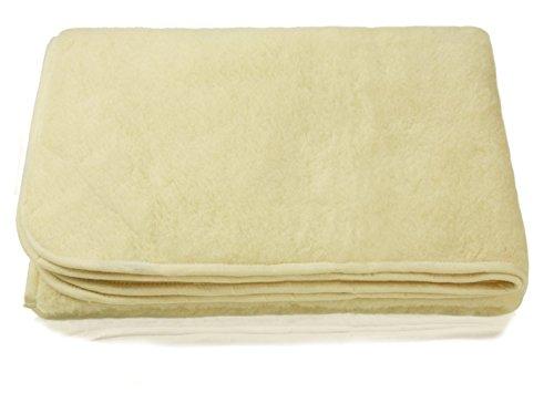 Zaloop Wolldecke 100% Schurwolle Merino Decke Wohndecke Bettdecke Tagesdecke Wolle (ca. 140 x 200 cm, wollweiß)