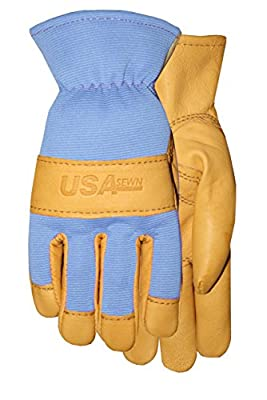 American Made Goatskin Leather Work or Garden Glove with Leather Palm and Blue Spandex