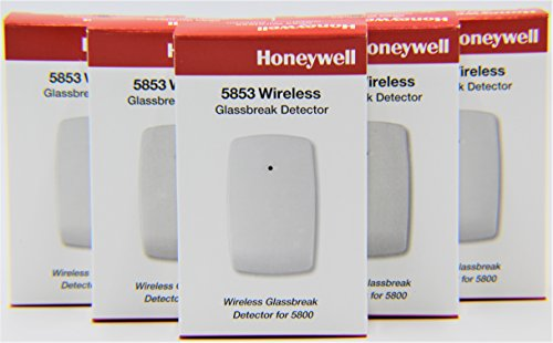 5 Pack of Honeywell 5853 Wireless Glassbreak Detector W/Mounting Tape