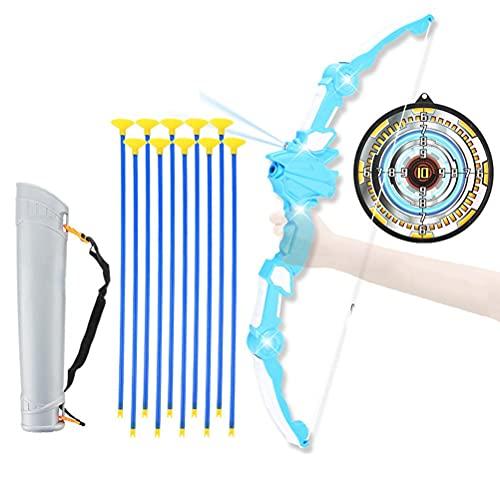 Arco y Flechas Niños Set, Juego De Arco y Flecha De Simulación De Tiro para Niños Juego De Arco y Flecha Plegable De Juguete con Sonido De Dinosaurio y Efectos De Luz y Proyección
