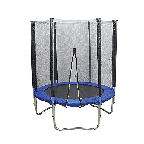 Futchoy Φ183 cm trampolino per bambini | trampolino da giardino fino a 300 kg di portata utile | tappeto elastico per bambini con rete di sicurezza | mini trampolino per esterni ed interni, blu