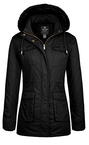Wantdo Cappotto Invernale Caldo Giacca in Cotone a Vento Cappotto Medio Lungo Giacca con Cappuccio Donna Nero XL