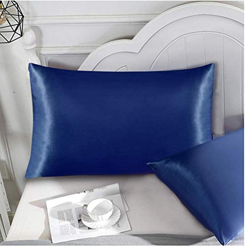 Elxf Juego de 2 fundas de almohada de seda para el cabello y la piel, 2 fundas de almohada de seda 100% 19 Momme Charmeuse - azul oscuro