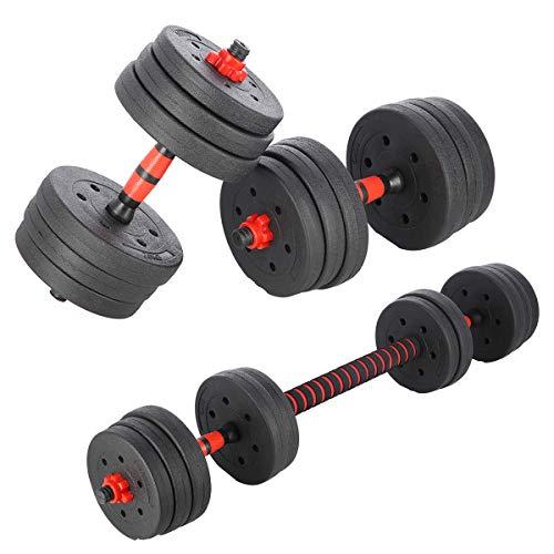 INNE Hantelset + 20 kg Hanteln 2x10kg kg Hanteln. Verschiedene Trainingsmöglichkeiten, viele Muskelgruppen trainieren für Krafttraining