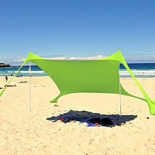 Strand Schatten Zelt Sun Shelter, Tragbare Sonnenschutz Große Leichte Baldachin Strand Zelte mit Sandsack Anker, Strandzelt mit UV-Schutz UPF 50+ Sonnenschutz, Markise...