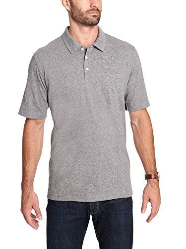 Weatherproof Vintage Men's Brushed Cotton Polo Shirt (Gray, X-Large)