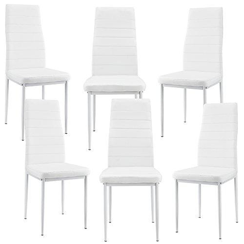 [en.casa] 6 x sillas de Comedor (Blancas) tapizadas de Cuero sintético Set de sillas de Cocina