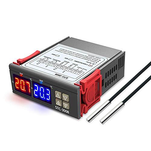RUIZHI STC-3008 Controlador digital de temperatura Termostato Regulador pantalla LED Doble Termostato para Incubadora con doble sensor NTC Sonda Calentador Enfriador (DC 12V)
