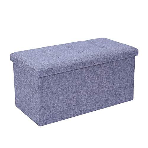 HXSKI Otomana rectangular de arpillera, versátil banco otomano de almacenamiento, para dormitorio de extremo de cama, almacenamiento de mesa extra gris otomano 76 x 38 cm x 38 cm