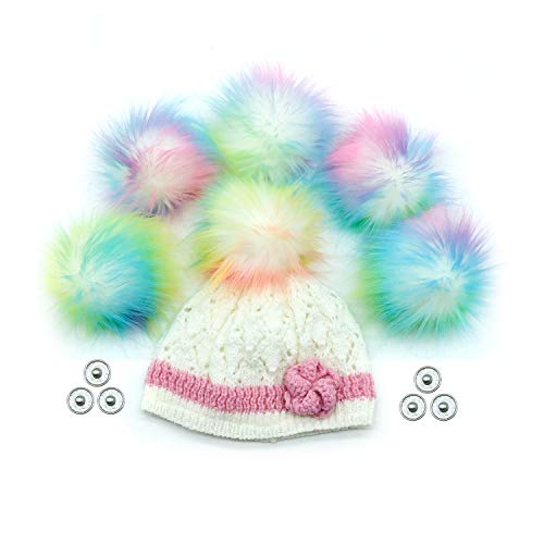 FurryValley Faux Fur Pompom 6pcs DIY Crafts Fluffy Balls for Hat Shoes Scarves with Snap Fastener Removable Knitting Hat Accessories 4.3 Inch (Colorful) (Colorful1)