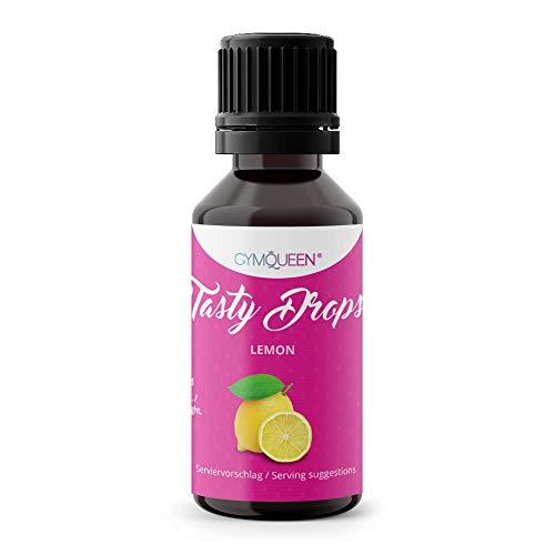GymQueen Tasty Drops 30ml | Kalorienfreie, Zuckerfreie und Fettfreie Flavour Drops | Aroma Tropfen zum Süßen von Lebensmitteln | Geschmackstropfen ohne Künstliche Farbstoffe I Zitrone