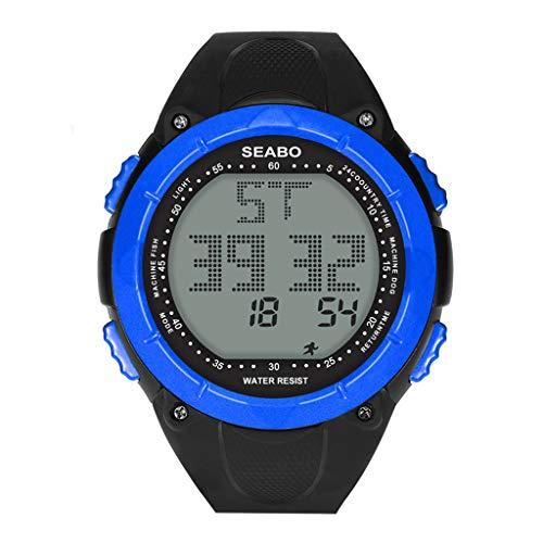 Yivise Reloj Digital para Hombre Estilo Deportivo LED Reloj Impermeable para Niños a Prueba de Agua para Niños(B)
