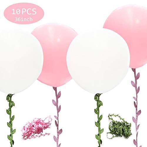 U&X Globos Gigantes Blanco Rosa 10 Piezas Globos Blancos y Rosados de 36 Pulgadas con 65 Pies de Vid Artificial Larga para Decoraciones de Bodas