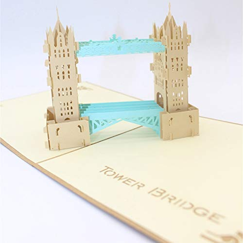 VIOYO 3D Handmade Cover Double Color London Tower Bridge Paper Invitation Greeting Cards PostCard Business Party Gift