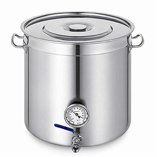 Kaibrite 98L Edelstahl Kochtopf Suppentopf Für Suppen Topf Gastronomie Gulaschkessel Eintopf mit Deckel Thermometer Wasserhahn