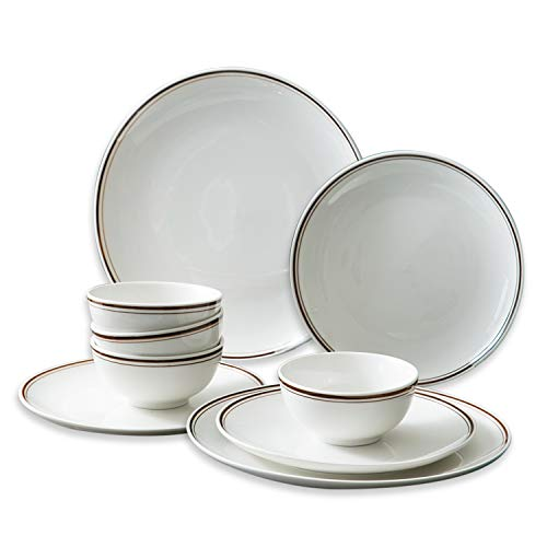 Sazaki 12 Piece Melamine Dinnerware Set for 4, Lightweight Plate & Bowl Set Best for Indoor Kitchen and Outdoor Party Environmental BPA-Free Home Fusion Dinnerware, Dishwasher & Microwave Safe