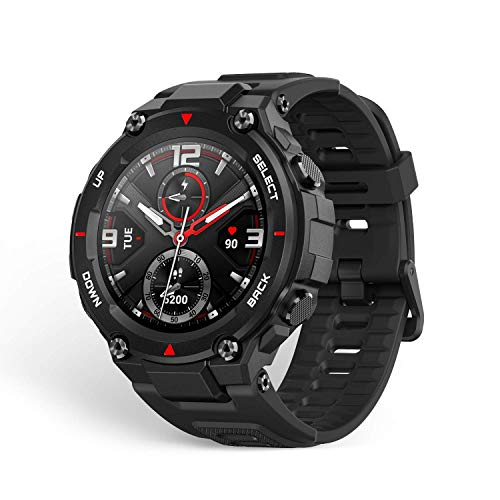 Amazfit Smartwatch T-Rex 1,3 Zoll Outdoor digitale Uhr wasserdichte Sportuhr mit militärischem Qualitätsstandard, GPS, Schlafmonitor, 14 Sportmodi, Schwarz