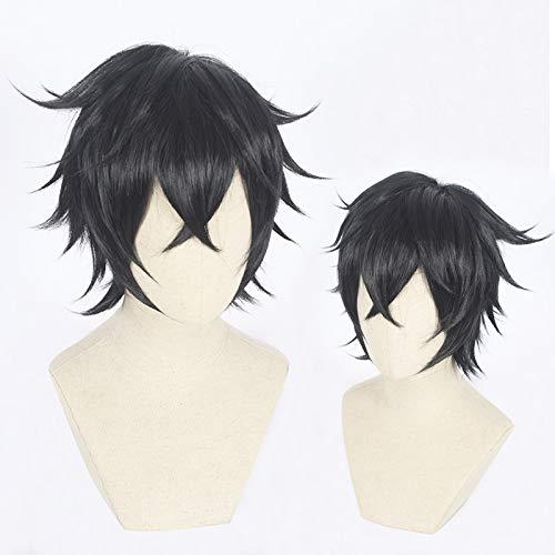 Peluca corta de Muzi Wig, color negro, para cosplay, el aumento del escudo héroe Naofumi Iwatani y Raphtalia Cosplay, accesorios de pelucas para Halloween Cosplay
