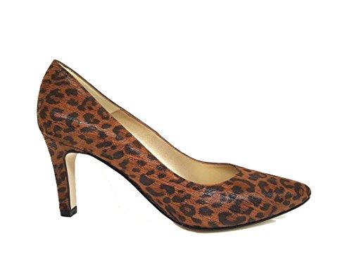 Medina - Salones Estampados de Vestir para Mujer en Piel con Punta Fina - Tacon Medio de Aguja 7 cm - Hechos en Espana, Leopardo Marron Animal Print, Talla 41