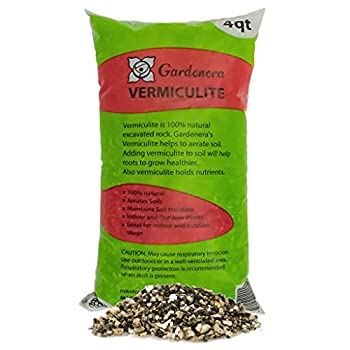 Horticultural Organic Vermiculite by GARDENERA - Medium Grade - Natural Soil Additive for Potted Plants - Orchids - Hydroponics - Terrariums  4 Quart