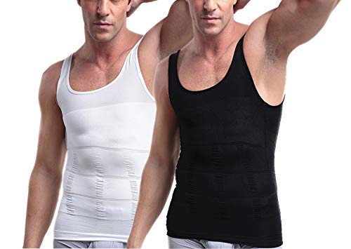 Mens Slimming Body Shaper Vest Shirt, Compression Muscle Tank, 2 Pack - Black and White - L