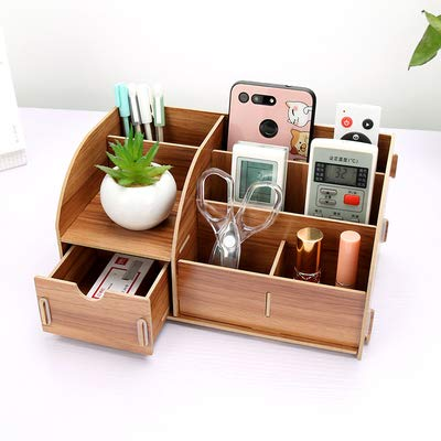 Organizador Tenedores de papelería de escritorio de madera de bricolaje con cajón Organizador Oficina Papel de papel Papelería Organizador de papelería Multiusione Caja de almacenamiento de madera