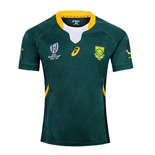 2019 Sudáfrica hogar y fútbol Jerseys ausentes, los niños Adultos de Polo de Manga Corta de Ropa Deportiva Casual, Manga Corta Copa Mundial de Rugby (Color : Green, Size : S)
