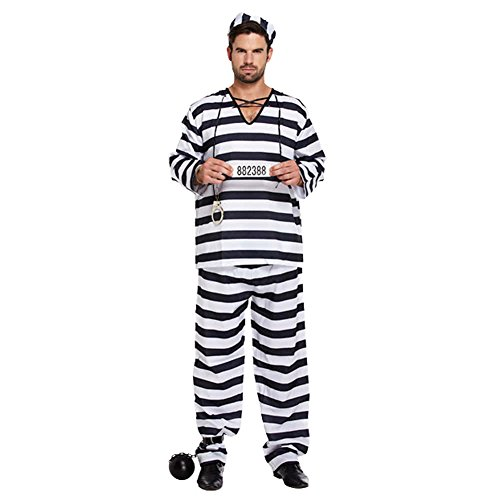 Black and white Prisoner Convict Robber Burglar Prison Break Jail TV Köstum Fancy Dress Costume Outfit - U00309