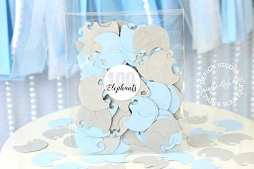 Baby Elephants Set of 100 Pieces Light Blue and Gray Baby Shower Decoration