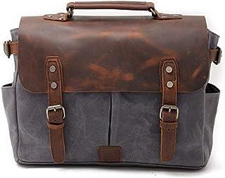 Men Business Vintage Messenger Shoulder Bag 14 inch Laptop Briefcase Waxed Canvas Genuine Leather Handbag (Color : Yellow) Elise (Color : Gray)