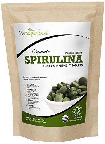 MySuperFoods - Compresse di Spirulina Biologica (300 Compresse x 500mg), Fonte Naturale Vegana di Proteine