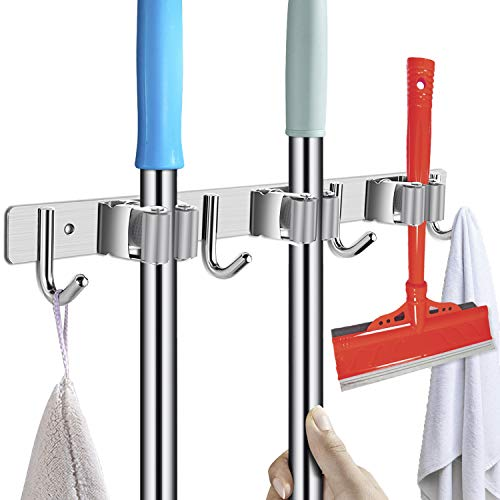 POPRUN Edelstahl Gerätehalter - Besenhalterung für die Wand, Besenhalter Selbstklebend von Gartengeräte(Inkl. Schrauben und Klebestreifen) - 3 Halter und 4 Haken, Grau