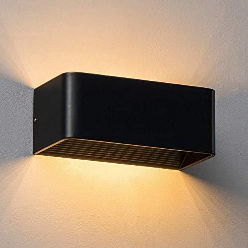 KOSILUM - Applique murale tendance noire LED - Quadra 20 cm - Lumière Blanc Chaud Eclairage Salon Chambre Cuisine Couloir - 6W - 496 lm - LED intégrée - IP20
