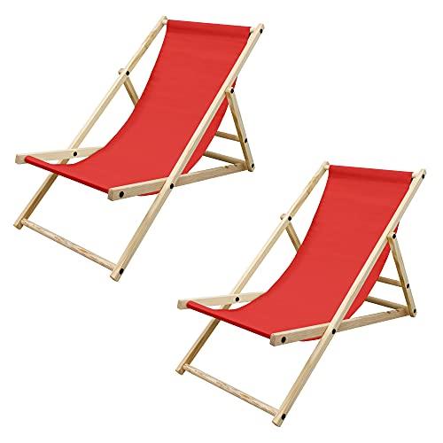 ECD Germany Set di 2 Sedie Sdraio Pieghevoli in Legno di Pino e Tessuto Oxford Fino a 120 kg Rosso Lettino Prendisole Spiaggia Balcone Giardino Terrazza Piscina Spiaggina da Esterno Resistente