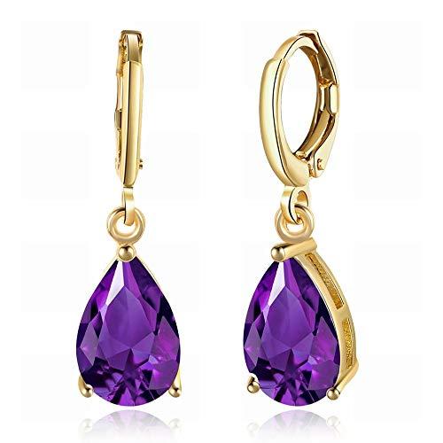 JIAJBG K Aretes de Circonita Dorada/Aretes Románticos de Diamantes con Forma de Gota Púrpura Clips de Oreja/Damas de Oro Champán/Acero Inoxidable/Hipoalergénicos/Peque?os Y Exquis