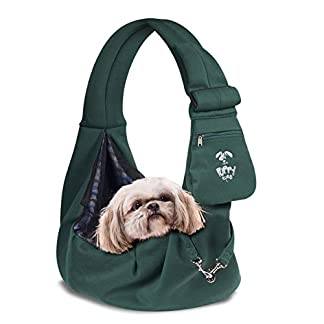 Puppy Eyes Pet Carrier Sling Ideal for Small & Medium Dogs, Cats or Rabbits up to 15 lb. Comfortable & Easy-Care | Free Seat Belt & Ebook | Adjustable & Reversible Design with Zippered Pocket 20