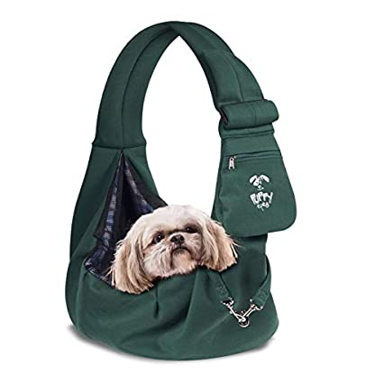 Puppy Eyes Pet Carrier Sling Ideal for Small & Medium Dogs, Cats or Rabbits up to 15 lb. Comfortable & Easy-Care | Free Seat Belt & Ebook | Adjustable & Reversible Design with Zippered Pocket 1