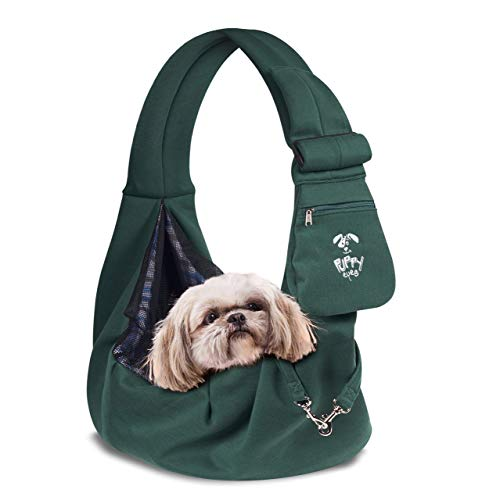 Puppy Eyes Soft Pet Carrier Sling Comfortable and Adjustable Dog Sling Ideal for Small & Medium Dogs...