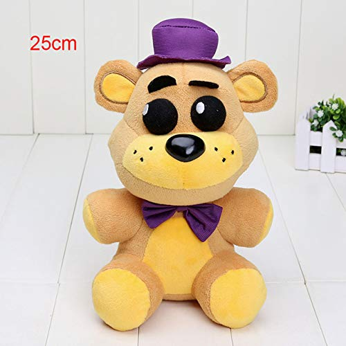 25cm / 14cm Five Nights at Freddy Plush Toys FNAF Golden Fazbear Nightmare Fredbear Purple Bear Mangle Pendant Keychain Toys,Nightmare Fred 25cm