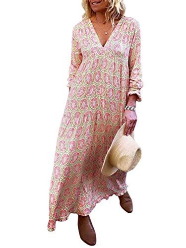 Minetom Damen Sommerkleider Print Maxi Kleid Langarm V-Ausschnitt Abendkleid Strandkleid Party Loose Lange Boho Tunika Rosa DE 38
