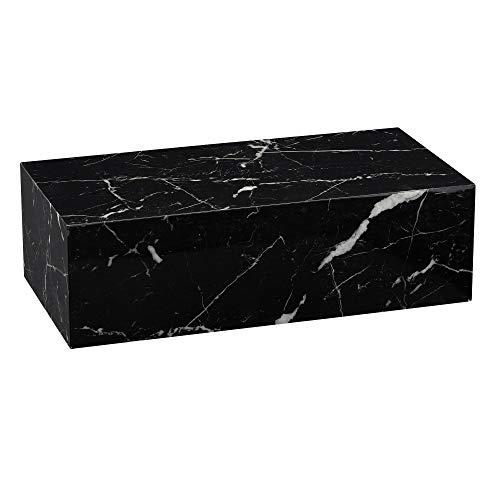 Finebuy Couchtisch 100x30x50 cm MDF Hochglanz mit Marmor Optik Schwarz | Design Wohnzimmertisch Rechteckig | Lounge Beistelltisch Cube Tisch