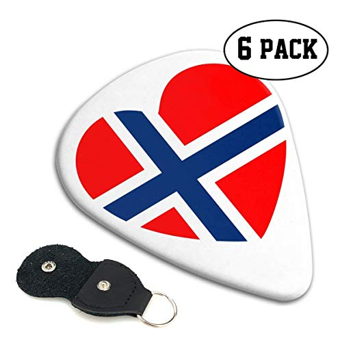 Gitarren-Picks Norwegen-Flagge Herz-Gitarren-Picks Plektren 6er-Pack Celluloid-Gitarren-Bass-Zubehör Für Gitarre, Mandoline und Bass 0,71 mm