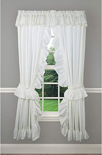 Classic Wide Ruffle Priscilla Rod Pocket Curtain Collection by Ellis (Natural, 84W x 63L Priscilla Pair)