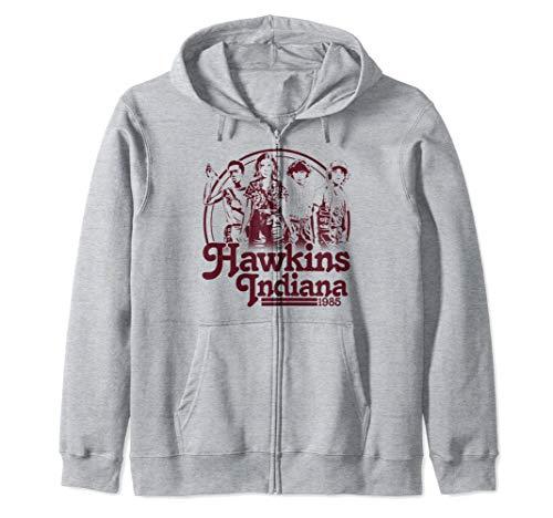 Netflix Stranger Things Hawkins Indiana Group Shot 1985 Sudadera con Capucha