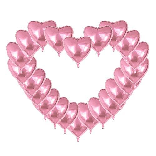 Globos de Aluminio Forma de Corazón,24 PCS Globos de Helio 18 Pulgadas Corazón Globos para Fiesta Cumpleaños Bodas Baby Shower Navidad Decoración Rojo
