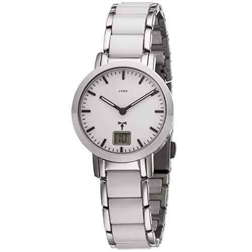 JOBO Reloj de pulsera para mujer (controlado por radio, acero inoxidable, cerámica),