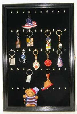 Souvenir Keychain Display Case Wall Mounted Cabinet Shadow Box (Black Finish)