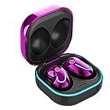 Tuimiyisou Inalámbricos 5.1 Auriculares Bluetooth Auriculares de botón de Manos Libres fácil de Llevar Auriculares herméticos con la Carga del teléfono móvil de Color púrpura