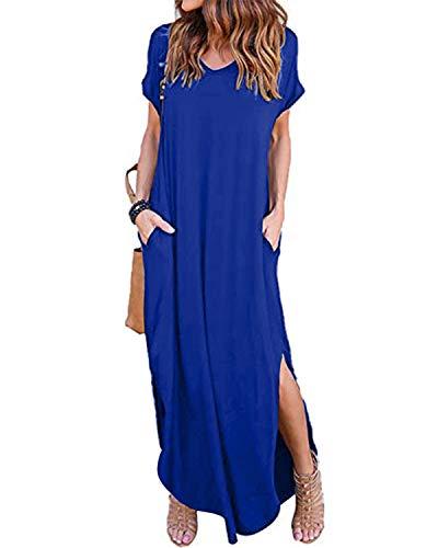 ZANZEA Damen Kleider Lange Sommerkleid Kurzarm Cocktail Elegant Ballkleid Mit Ärmel Royal L